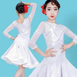 long latin dresses NZ - Latin Dance Dress For Girls Long Sleeve Green White Practice Clothing Ballroom Dance Competition Dresses Rumba Tango Wear VO231