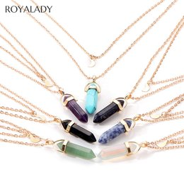 hexagonal pendant quartz 2019 - Bohemian Hexagonal Quartz Pendant Necklace 2019 Vintage Crystal Tiger Eye Turquoises Women Power Necklace Fashion Jewelr