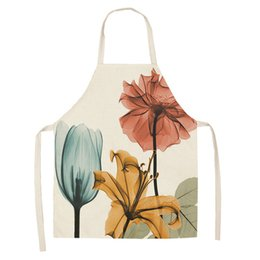 Catering Kitchens Australia - 2Pcs Flower Pattern Women Lady Apron for Home Kitchen Restaurant Cooking Bib Aprons Catering Anti-Fouling W47*L66cm