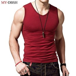 mens sleeveless tank tops Canada - 100% Cotton Big Size Summer Men's Clothing Casual Tank Tops Solid Color Singlets Sleeveless Fitness Mens Vest Bodybuilding Tops CX200630
