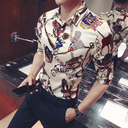 plus size spandex shirt Australia - Gold Keychain Floral Print Shirt Slim Fit Korean Clothes Men Chemise Homme Floral Party Club Chemise Homme Plus Size 5xlMX190829