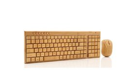 Wholesale New design Wireless Multimedia Bamboo Keyboard and Mouse Combo 2.4G Bamboo Environmental Protection Low Carbon Healthy Comfortable for Using