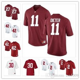 59c82aae4 Alabama Crimson Tide 2 Derrick Henry 27 Gore11 Dieter 30 Hightower 42 Lacy Customized  Limited White Red 2013 BCS Patch NCAA Football Jersey