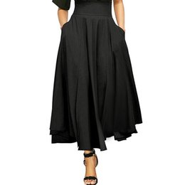 632430094 High Waist Pleated A Line Skirts Womens Vintage Pocket Skirt Ladies Maxi  Skirt Belted Saia Midi Faldas Mujer harajuku kawaii