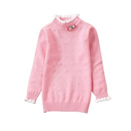 Wholesale Knit Children Girls Blouse Long Sleeve Shirt Ruffle Collar Basing Bottoming Spring Autumn Kids Shirts Cozy Tops