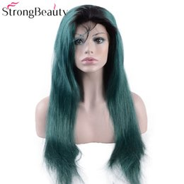 $enCountryForm.capitalKeyWord Australia - Long Green Lace Front Wigs Synthetic Kinky Straight Ombre Seagreen Heat Resistant Synthetic Wig With Dark Roots