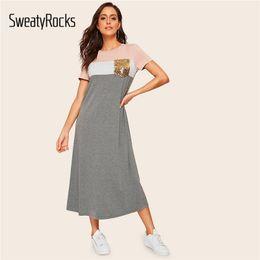 $enCountryForm.capitalKeyWord NZ - Sweatyrocks Paillette Bag Color Block T Dress Women Stretchy Short Dress 2019 Summer Casual Modest Long Dress Y19071001