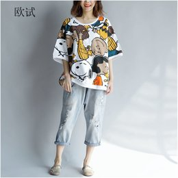 Korean Tshirt Women Australia - Kawaii T-shirt Cotton Women Tshirt 2019 Summer Print Plus Size Cartoon T Shirt Korean Shirts Tops 4xl 5xl 6xl With Dog Prints J190621