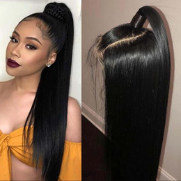 ponytail wigs straight NZ - Human Peruvian Lace Front Wig With Baby Hairs Long Straight Virgin Hair Middle Part Glueless Full Lace Wigs High Ponytail For Black Women