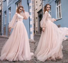 $enCountryForm.capitalKeyWord Australia - 2019 Princess Blush Pink Sexy Cheap Prom Dresses Long V Neck Long Sleeves Lace Applique Floor Lenth Formal Prom Party Gowns vestidos de fies