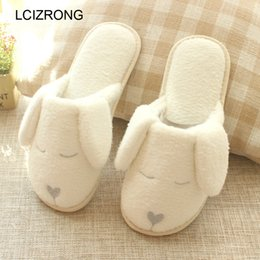 $enCountryForm.capitalKeyWord NZ - wholesale Spring Cartoon Dog Plush Home Slippers Women Cute Animal Slippers Woman Soft Comfortable White Shoes Family
