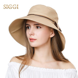 20b9344b85a SIGGI Women Sun Summer Hat wide brim chapeu feminino praia chapeau femme  for Girl Packable bucket upf50+ UV Cap cord beach 69046 C18122501