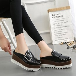 $enCountryForm.capitalKeyWord NZ - Lucyever Women Leather Shoes High Platform Wedges Brown Slingbacks Pumps Fashion Thick Bottom Rivets Buckle Casual Shoes Woman #9545