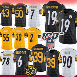 China Pittsburgh Jersey 19 Juju Smith-Schuster Steeler 39 Minkah Fitzpatrick 90 T.J. Watt Devlin Hodges Rudolph Devin Bush Conner Polamalu Shazier cheap shazier jersey suppliers
