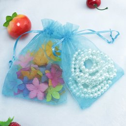 drawable bags blue Australia - Wholesale 500pcs lot,Drawable Lake Blue Color Organza Bags 11x16 cm, Favor Wedding Gift Packing Bags,Packaging Jewelry Pouches