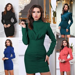 $enCountryForm.capitalKeyWord Australia - Stand Collar Womens Dress Long Sleeve Pleated Package Hip Dress 2019 Autumn Pencil Dress Fashion Sexy Dresses