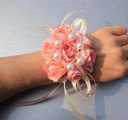 Bridal Brooch Flower UK - Simulated Brooch Hand Flowers Wrist Corsages Prom Flowers Bride Bridesmaid Wrist Flower Designer Wristlet Wedding Bridal Accessories