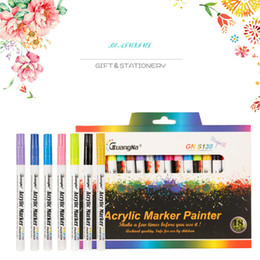 $enCountryForm.capitalKeyWord UK - 12 18 Colors 0.7mm Acrylic Paint Marker pen Art Marker Pen for Ceramic Rock Glass Porcelain Mug Wood Fabric Canvas Painting SH190908
