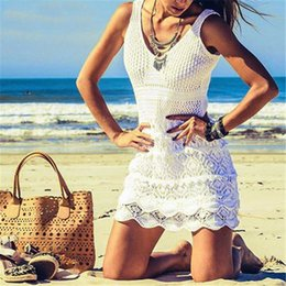crochet swim cover ups NZ - 2018 Crochet White Knitted Beach Cover up dress Beach Tunic Pareos Bathing Suit coverup Swim cover up Robe Plage Beachwear