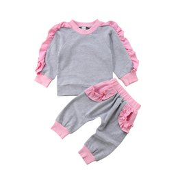 toddler girl ruffle leggings NZ - Newborn Toddler Kids Baby Girl Long Sleeves Gray Ruffle Tops Shirt Pants Leggings Outfits Autumn Set Clothes