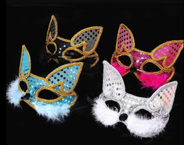 Discount fox halloween costumes - Fox Mask Halloween Sticker Costume Ball New Year Party Props Feather Show Catwalk Animal Mask gifts hot sell