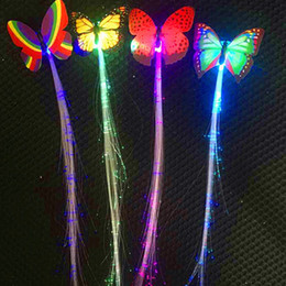 glow hair Canada - 10pcs Glow Party Supplies Glow Hair Braid Clip Light-up Flashing Fiber Optic Hair Led Headwear For Party Wedding Girl Dress