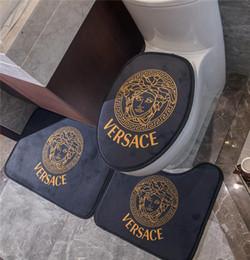 Ingrosso Classic Ritratto stampa igienici Mat 3Pcs Camellia stampa tappetino antiscivolo Bagno Moquette Toilette Mat 3Pcs Set Carpet Luxcy igienici coperchio di copertura