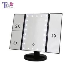 $enCountryForm.capitalKeyWord NZ - LED Touch Screen 22 Light Makeup Mirror Table Desktop Makeup 1x 2x 3x Magnifying Mirrors 3 Folding Adjustable Mirror
