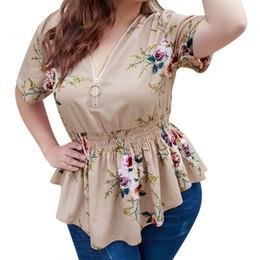 a746e7513 PePlum blusas online shopping - Chiffon Blouse Summer Women Clothing Peplum  Tops V neck Causal Zipper