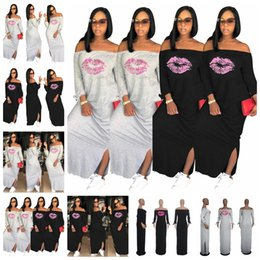 $enCountryForm.capitalKeyWord Australia - 2019 European sexy one-shoulder strapless long-sleeved casual hood loose printed red lip dress, gray, black, support mixed batch