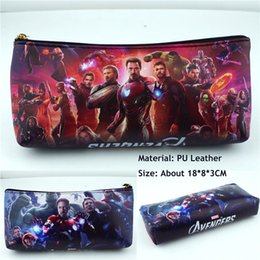 Korean School Stationery Australia - Marvel The Avengers PU Zipper Pencil Case Student Stationery bag School Pen bag Makeup Case Cosmetic Bag makeup pouch bags #273599