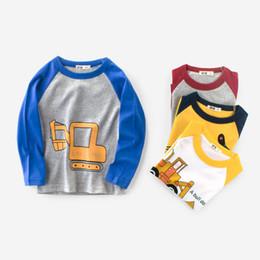 Discount boy cars t shirts - New Baby Cartoon Cars Excavator Print Kids Boys T-shirt Tops Tee Long Sleeve Clothing Cotton Casual Children's Tees
