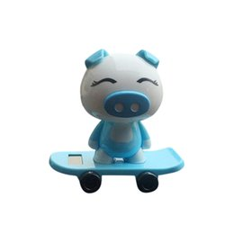 Child Cars online shopping - New child Cute Blue Pig Car Inner Decoration Toy CARPRIE PC Cars Solar Powered Dancing Swinging Animated Dancer Toy Decor Toys