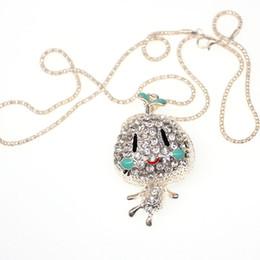 Baby Figures Australia - Wholesale 3D Silver Crystal Charm Carton Figure Rhinestone necklace Pendant Jewelry cute Baby Cartoon Character Pendant Lab Diamond
