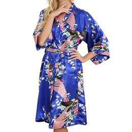 Discount half sleeves satin robe - Satin Wedding Bride Bridesmaid Robe Floral Kimono Robe Half Sleeve Sleepwear Cardigan Nightgown Dress Women Sexy Bathrob