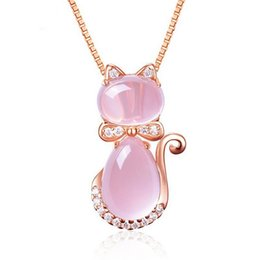 $enCountryForm.capitalKeyWord UK - New Arrival Cute Rose Pink Opal Kitty Cat Pendant Necklace For Women Girls Children Gift Lovely Quartz Romantic Wedding Jewelry