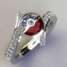$enCountryForm.capitalKeyWord Australia - New fashion plated 925 silver elf ball red and white ring ladies diamond mosaic party engagement ring size 5-11