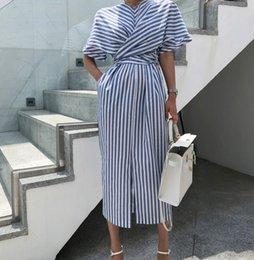 18950a27ed31e7 2019 fashion Women Dress Korean Women Summer Cotton Blue Striped Bandage  Split Long Dress Female Long Bodycon Plus Size Vestido