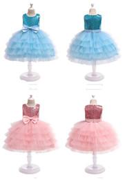 Satin lolita dreSS online shopping - Girls Wedding Dresses Flower Girl Princess Skirts sequined children cake layers ball gown children boutiques clothes for halloween X mas