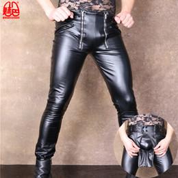 Zipper Erotic Australia - PU Faux Leather Punk Pants Elastic Tight Trousers Erotic Lingerie Club Gay Wear Sexy Men Plus Size Open Crotch Fad Pencil Pants
