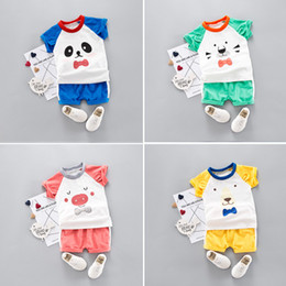Clothes Wear For Kids Australia - summercarton clothes for boys 2pcs Korean cotton suits baby clothing kids clothes Infant Boys kids wear new summer 1-2-3-4 years baby short-