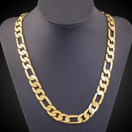 Solid Figaro Chain Australia - 6MM 14K Solid Yellow Gold Plated Figaro Chain Necklace 24'