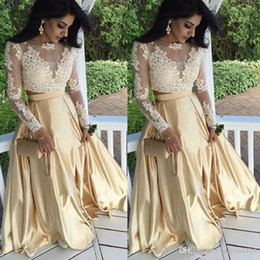 $enCountryForm.capitalKeyWord Australia - New Gold Two Pieces Prom Dresses Jewel Neck Lace Appliques Illusion Long Sleeves Plus Size Pageant Dress Formal Party Evening Gowns