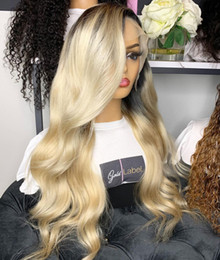 1b Body Wave Full Lace Australia - 100% Human Hair Full Lace Blonde Wig Ombre Color 1B 613 Two Tone Body Wave Front Lace Wigs Dark Root With Baby Hair