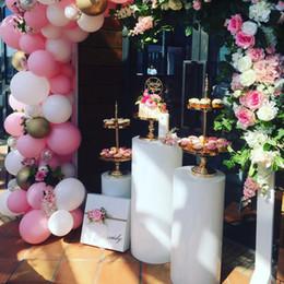 Discount backdrop holders - metal rack macaron dessert iron stand Cake holder Pillar cylinder pedestal for baby shower wedding birthday hotel backdr