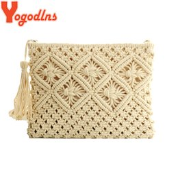 beige hand bag Australia - Yogodlns National Style Woven Bags Clutch Hollow Out Straw Handbags Vintage Rattan Beach Bag String Knitted Tassel Hand Tote