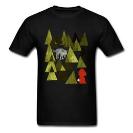 wolves tshirt Australia - Simple Men T-shirt Simple Style T Shirt Little Red Riding Hood Wolf Tshirt Printed Geometric Forest Design Tops Adult Cotton Tee