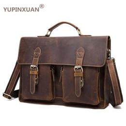 "$enCountryForm.capitalKeyWord NZ - YUPINXUAN Vintage Crazy Horse Briefcases Men Genuine Leather Messenger Bags 14"" Laptop Handbags Cow Leather Business Bag Russian"