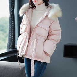 pink fur parka Australia - Real Natural Raccoon Fur Collar 2019 New Winter Coat Women White Duck Down Jacket Coat Hooded Down Parka Thick Warm Snow Outwear T191024