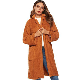 brown parka women UK - Crazy2019 Women's Faux Fur Faux Fur Winter Windbreaker Jacket Large Pocket Lapel Jacket Winter Windbreaker Parka Outerwear